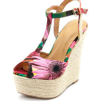 Charlotte Russe - Printed Fabric T-Strap Wedge