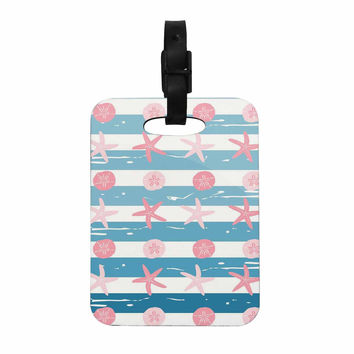 "afe images ""Starfish And Sand Dollar Pattern"" Pink Blue Digital Decorative Luggage Tag"