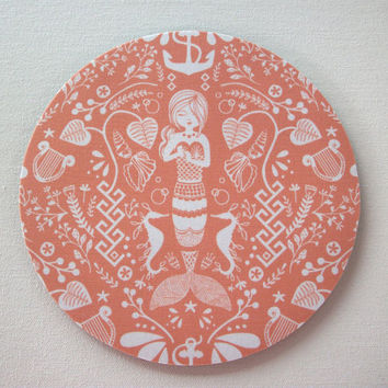 Herringbone Mouse Pad mousepad / Mat - round - coral mermaid - desk office dorm cubical decor accessories - siren