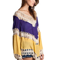 (PREORDER) Gameday Crochet Tunic in Purple and Gold
