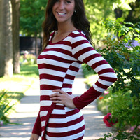 Stripe Knit Tunic with Asymmetrical Hem