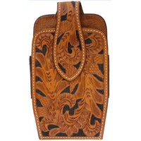 3D Natural Acorn Hand-Tooled Leather Large Smartphone Cell Phone Case
