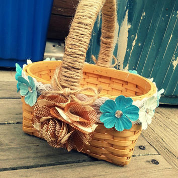Rustic Burlap/Blue Sparkle Flower Girl Basket