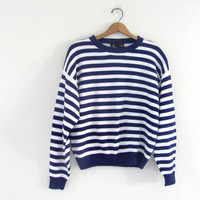 25% OFF STOREWIDE! vintage knit sweater. purple blue and white stripes sweater. nautical sweater. women's size .
