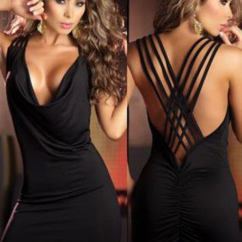 Open String Back Tank Style Black Mini Dress LC2328-2 + Chea