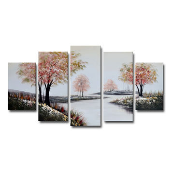 Creek in Rose Colored Forest Canvas Wall Art Landscape Oil Painting