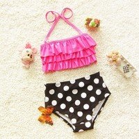 Vintage Inspired two piece girls swimsuit