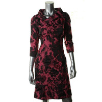 B Michael Womens Floral Print 3/4 Sleeves Wear to Work Dress