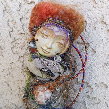 Abundance and Prosperity Moon. Spirit Art Doll Assemblage by Griselda Tello