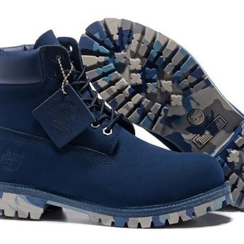 PEAPON Timberland Rhubarb Boots Blue Camouflage Waterproof Martin Boots
