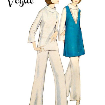 60s Easy to Make V Neck Tunic Vogue Pattern 6413 Bell Bottom Pants Pull Over Turtle Neck Blouse Vintage Sewing Patterns Size 14 Bust 34