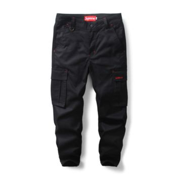 Tide brand Supreme men 's casual pants camouflage pants male trousers jogging pants Black