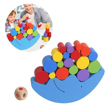 New Baby Wood Moon Shape Balancing Toy Building Blocks Early Learning Toy