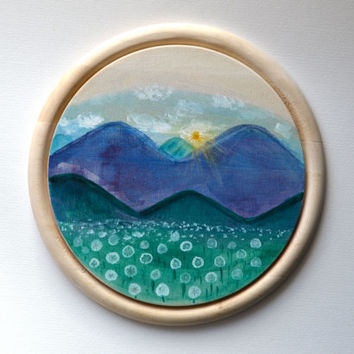 Wood Painting, Dandelion Meadow, Purple Mountains, Original Landscape Painting, Circle 10 Inch Rustic Landscape, Sunrise on Repurposed Wood