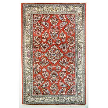 Oriental Sarook Wool Persian Tribal Rug, Red/Cream