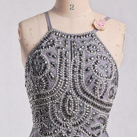 Long Gray Backless Prom Dresses,Stunning Beaded Crystal Party Dresses,Long Evening Dresses,Homecoming Dresses