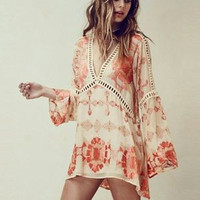 "Bell Sleeve Boho Mini Dress ""Barcelona"" Orange Hippie Flowers Crochet Detail Long Sleeve Sizes Small Medium Or Large"