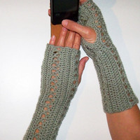 Grey FINGERLESS GLOVES / Crochet Arm WARMERS / Grey Wrist Warmers