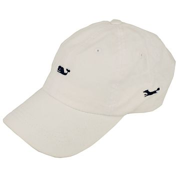 Whale Logo Baseball Hat in White by Vineyard Vines, Also Featuring Longshanks the Fox