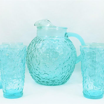 Turquoise Pitcher, 6 Tumbler Glasses, Anchor Hocking, Lida Milano Set, Cold Drink Pitcher and Glasses