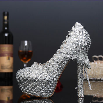 Silver Crystal Bridal Wedding Shoes Pumps