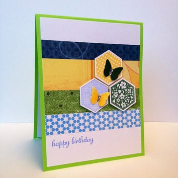 Stamped card, happy birthday, green blue yellow, hexagons, butterflies, clear rhinestones, birthday card, greeting card, handmade card
