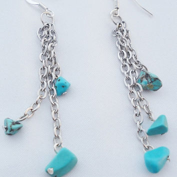 Silver turquoise chain dangle earrings