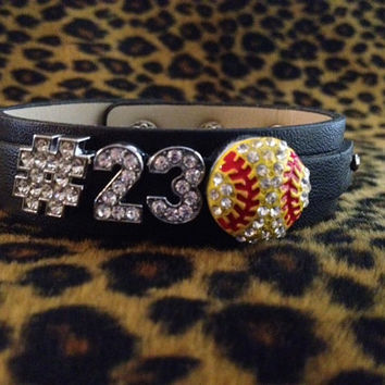 Rhinestone Softball TWO number Personalized Jersey Number Black Bracelet MOM Sports Charm