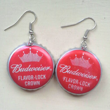 Budweiser Handmade Rockabilly-Girl Beer Bottle Cap Earrings