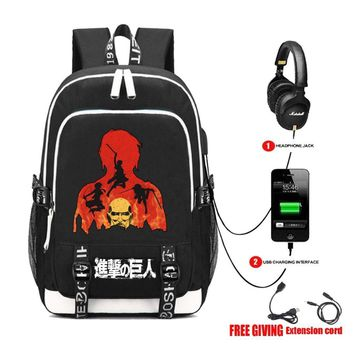Cool Attack on Titan  backpack cosplay packsack student Schoolbag USB charging Headphone jack Teenagers men Shoulder Bag 12 style AT_90_11