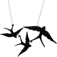 Swallow Triple Necklace - black