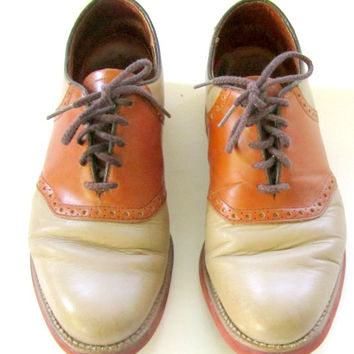 Vintage Mens Saddle Shoes Tan and Brown with Red Soles Size 9 Wide