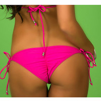 Pink Side Tie Bikini Bottom - Silver Rings - Fully Lined - Scrunch Ruched Butt Option- High Quality Swimwear Fabric - New
