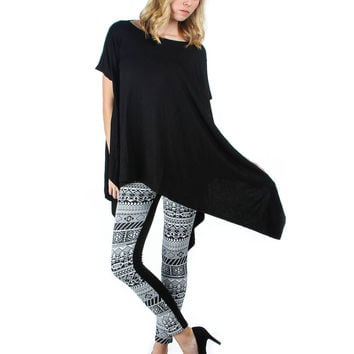 BLACK AND WHITE PONTE LEGGINGS WITH BACK POCKETS