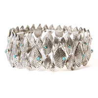 Antique Silver Leaves with Turquoise Stones Stretch Bracelet
