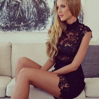 Sexy Women Lace Gauze Prom Gown  Formal Party Cocktail Short Mini Dress