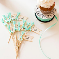 Mint Wedding Decorations/ Mint Bridal Party Cupcake Toppers/ I DO Wedding Toppers/ Bridal Shower/ Mint Cocktail Stirrers Set of 12