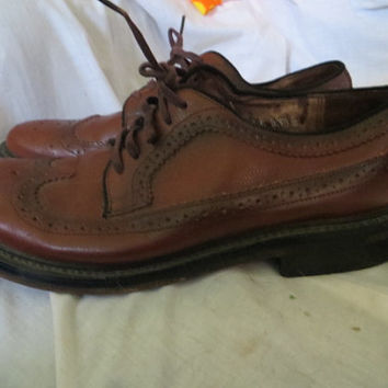 vintage retro Mens brown leather 50s wingtip  Cordovan shoes  by SEARS  SZ 9 1/2 E