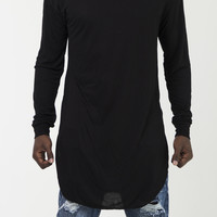 The Demar Long Sleeve Long Tee in Black