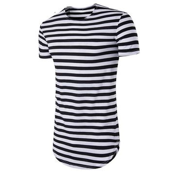 Stripes Cotton Men Longline Shirts Extra Long Oversized Tall Tees