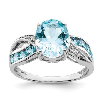 Sterling Silver Diamond & Light Swiss Blue Topaz Oval Ring
