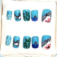 One of a kind hand painted shark nails