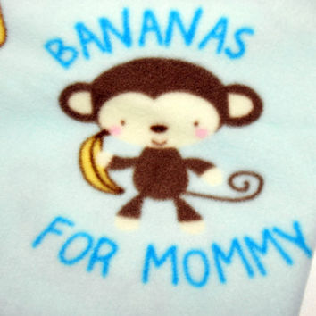 Baby Blanket, Newborn Blanket, Blue Baby Boy, Monkeys, Bananas for Mommy, Soft Fleece, 36 X 30, Baby Shower Gift, Baby Fleece, Baby Boy Gift