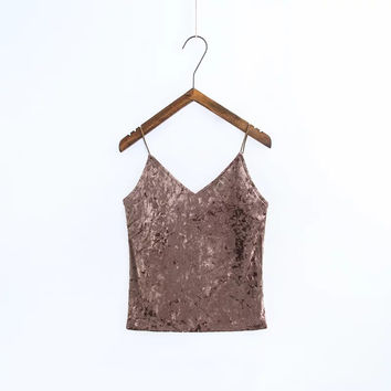Tangada Sexy Summer Velvet tank top v neck camisole backless strap camis tube top 2017 women tops party streetwear Female 4P1