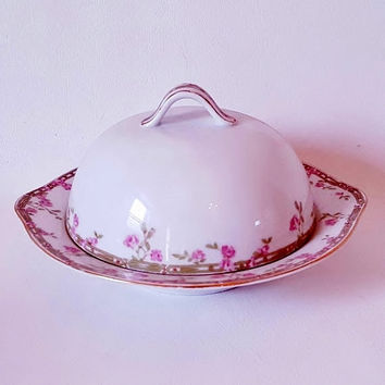 Vintage Covered Butter Dish Pink Floral Dish Pink Green Rose Cheese Dish OEG Floral Covered Butter Dish Round Covered Dish Vintage Seving