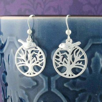 Tree of Life Dangle Earrings with Bird Charms