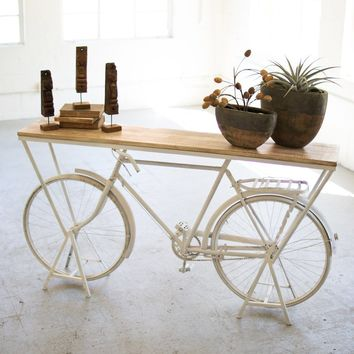 Rustic White Repurposed Bicycle Console Table