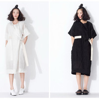 womens summer dresses in white,black,oversized,with belt,made from linen,high fashion,unique,minimalist,chic,half sleeve,casual.--E0255