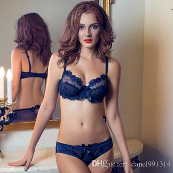 New Sexy Bra Lace Sexy Lingerie Bra Set Extender Embroidery Breathable Breast Women Thin Bra Brief Set