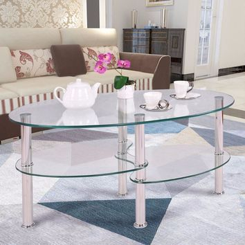 Oval 3 Tiered Tempered Glass Coffee Table